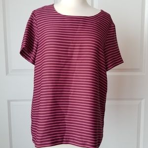 LOFT Stripped Pink Brown short sleeve Blouse